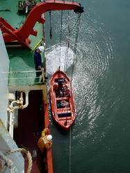 Testing maneuvering of lifeboat engine forward
